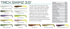 Z-man Trick Swimz soft plastic lures colours